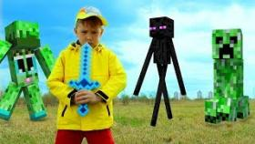 Рома и Хелпик нашли портал в МАЙНКРАФТ Эндермен Крипер Minecraft IRL Для детей kids children