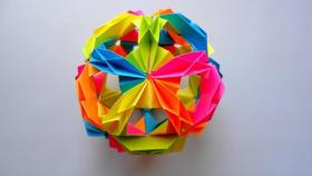 Кусудама карамболина с бумаги. Елочная искусство игрушка